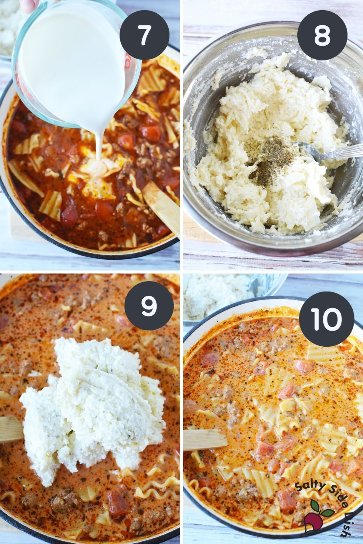 4 images showing heavy whipping cream and ricotta into stock pot.