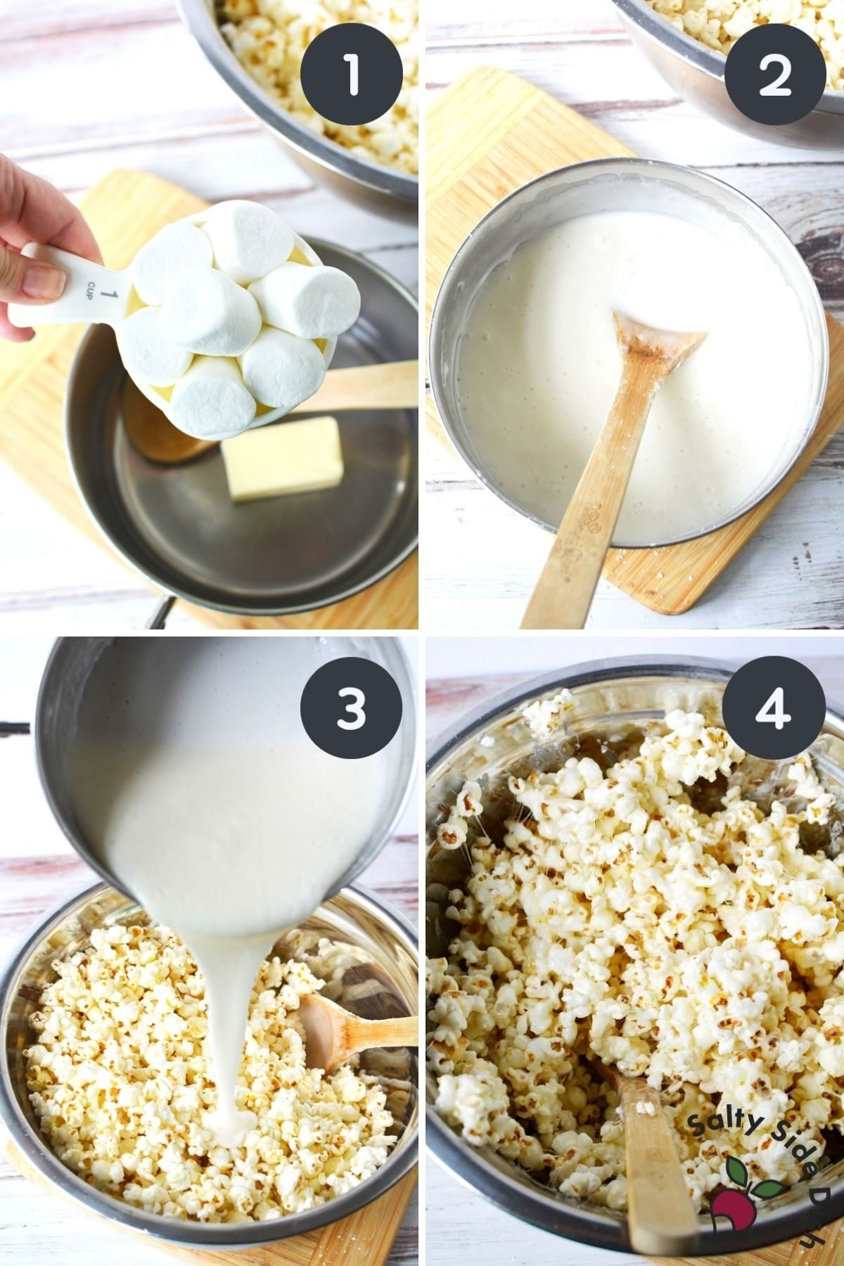 4 image collage on how to make melt marshmallow mixture for popcorn balls.