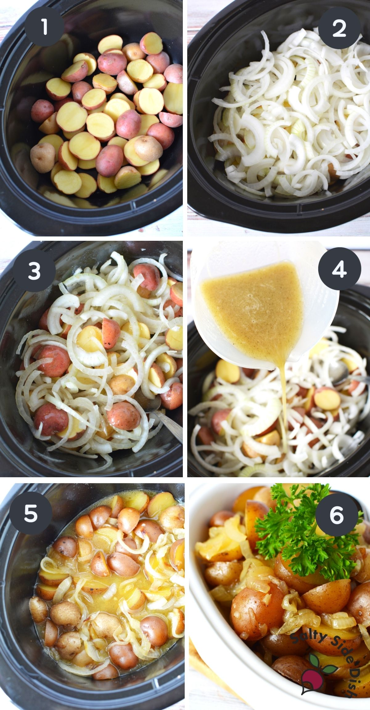 6 image collage of potatoes and onions being added to crock pot.
