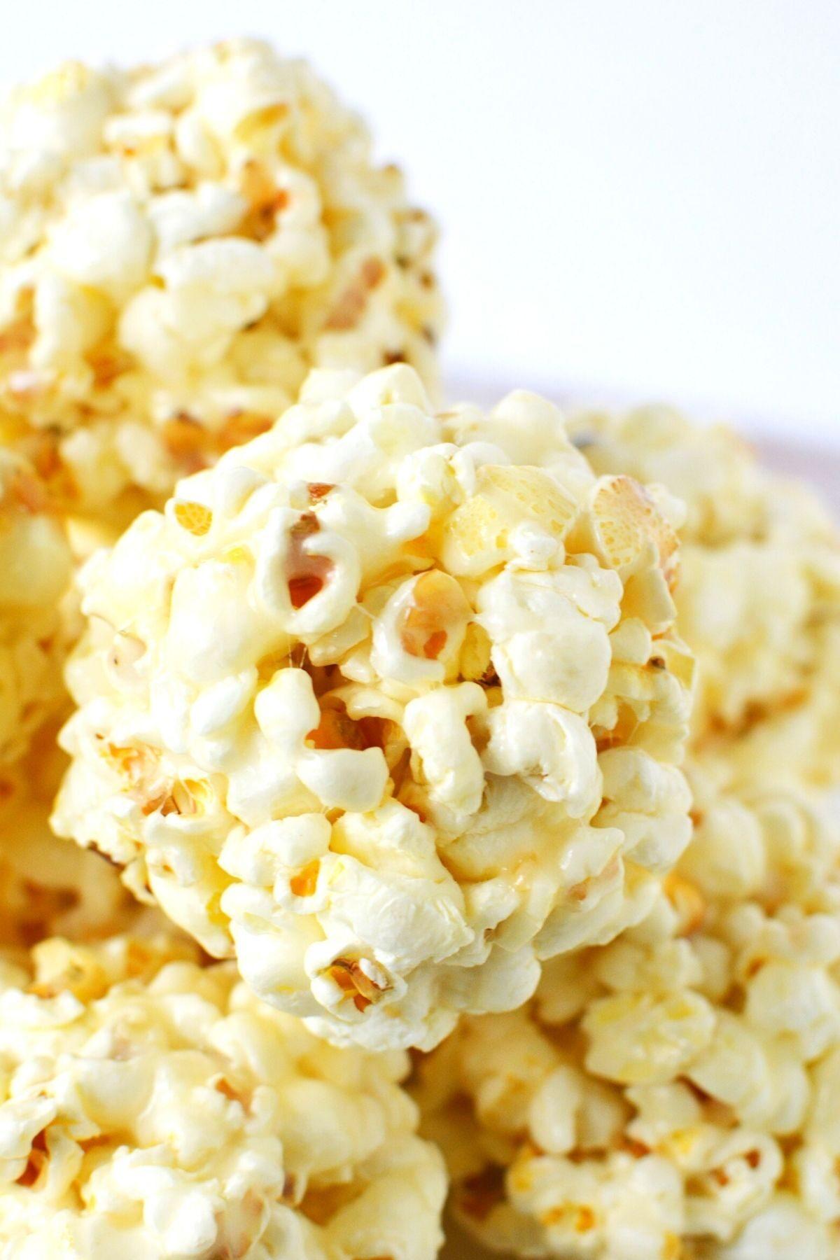 close up of popcorn balls.