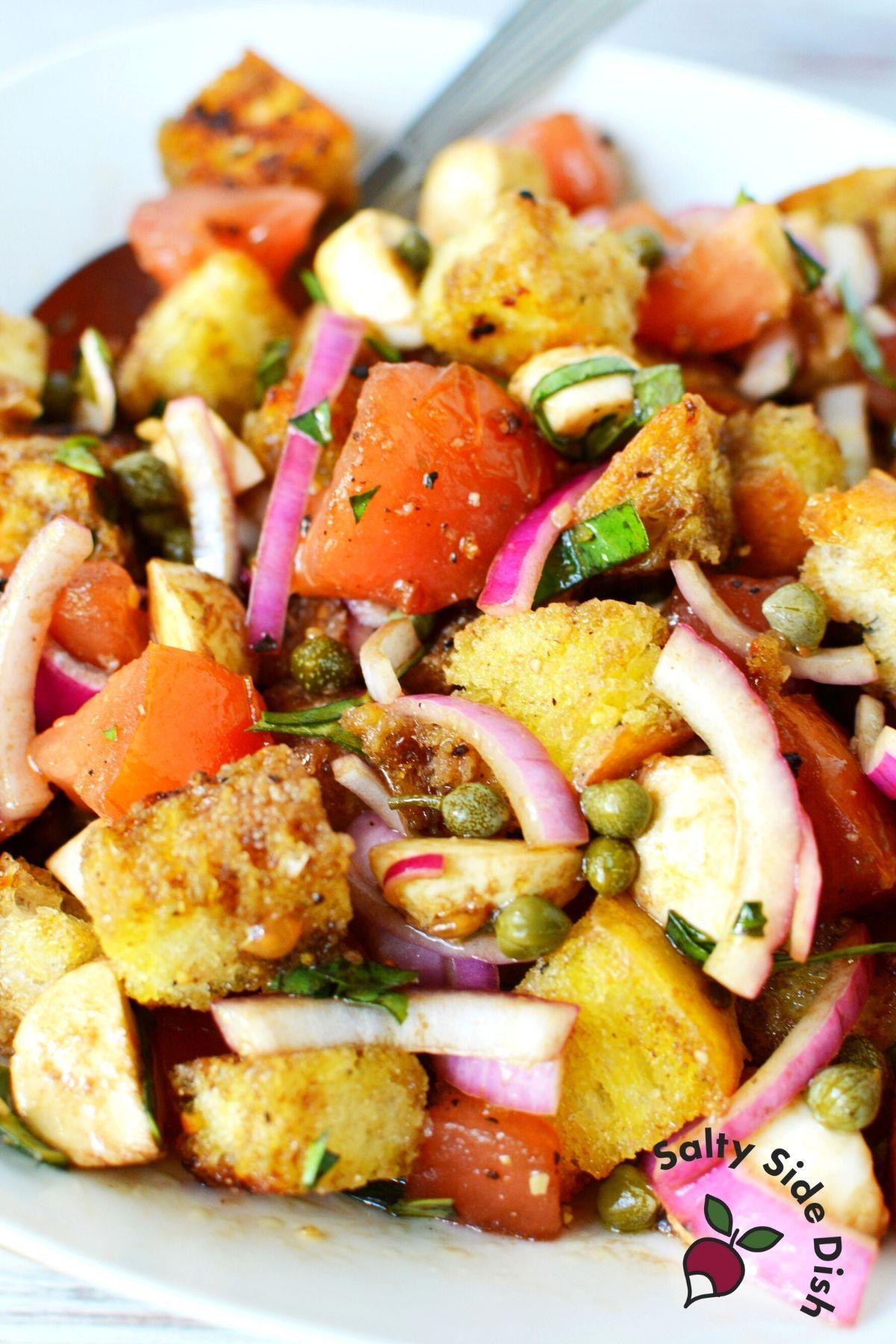 white plate with panzanella salad.