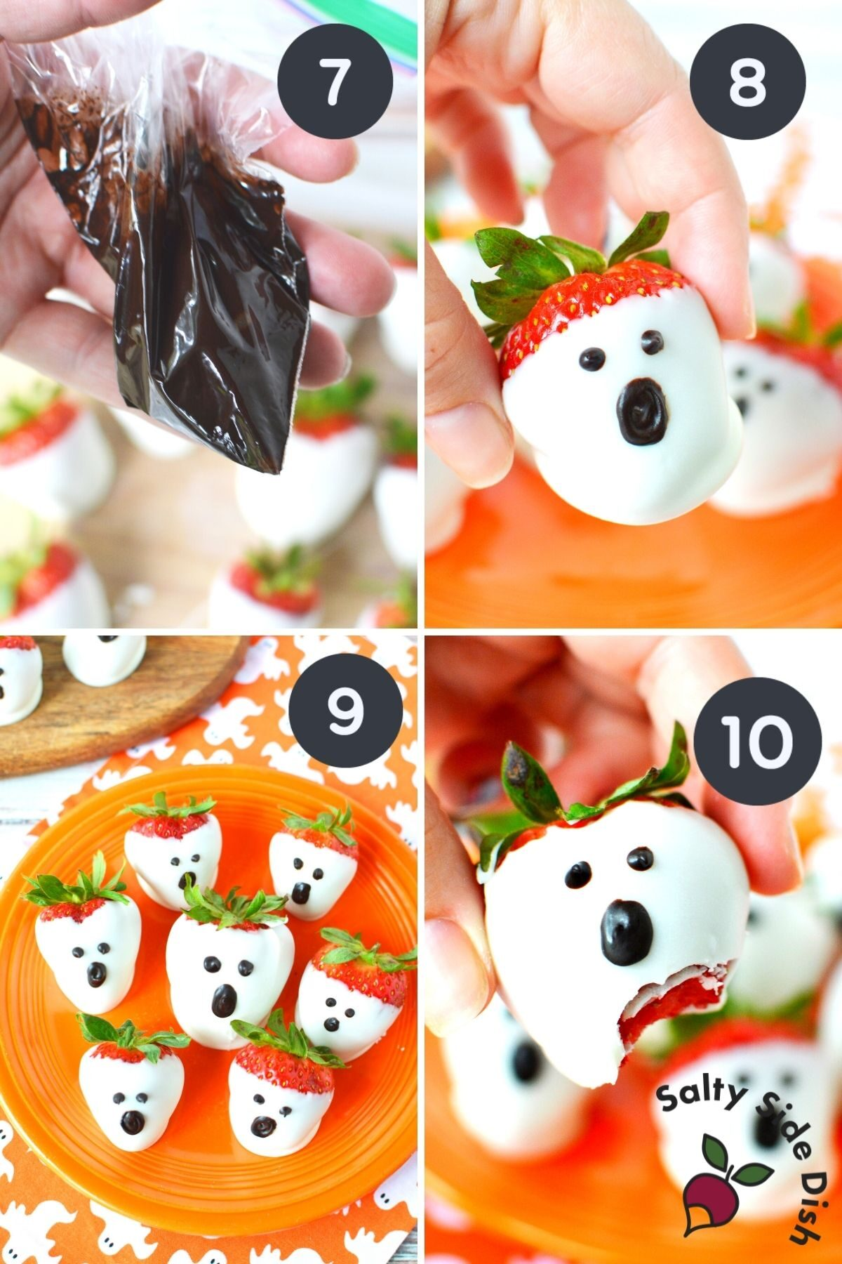 4 image collage on how to turn strawberries into a ghost appetizer.