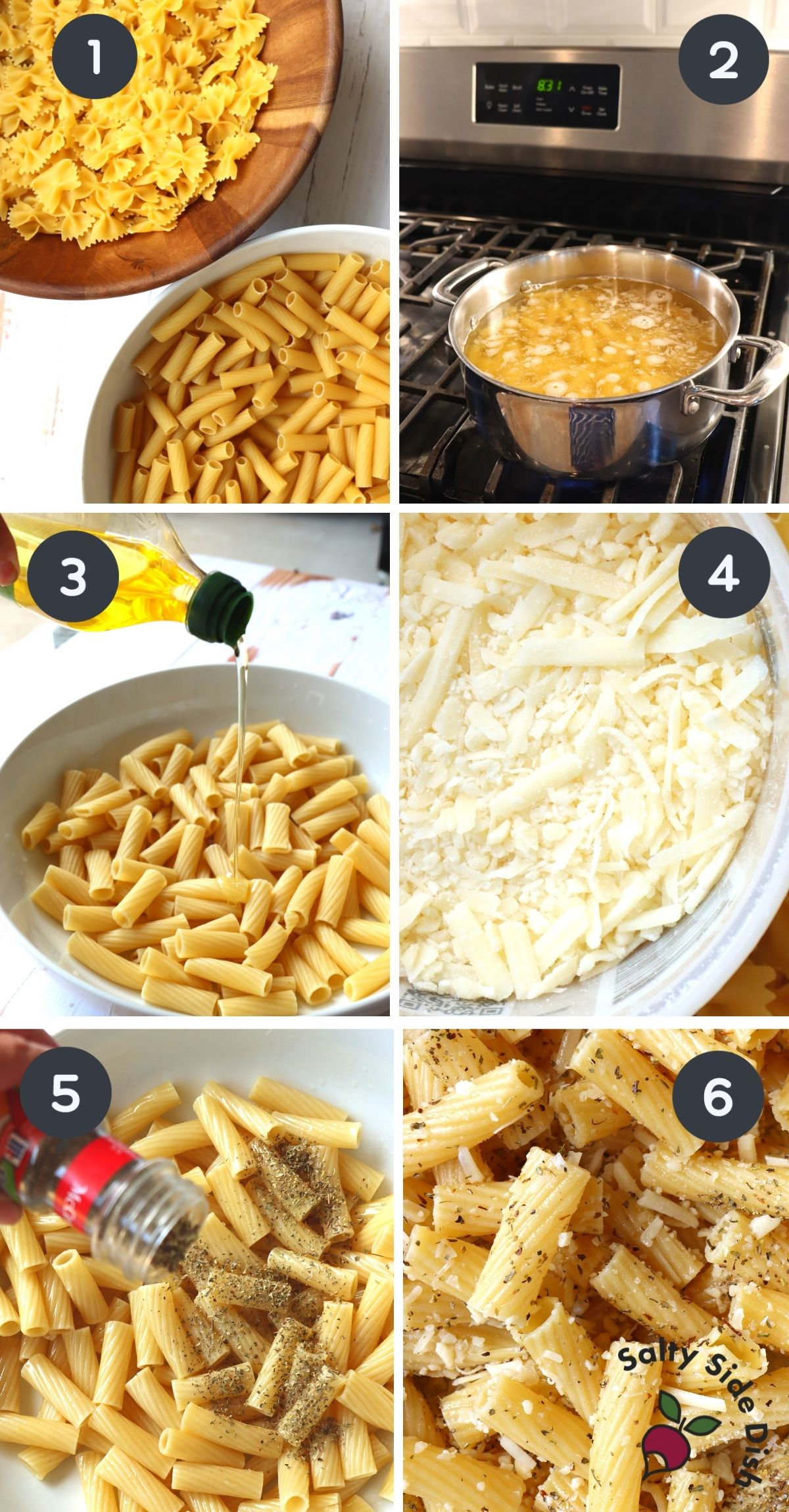 6 image collage of step by step instructions on how to make pasta chips.