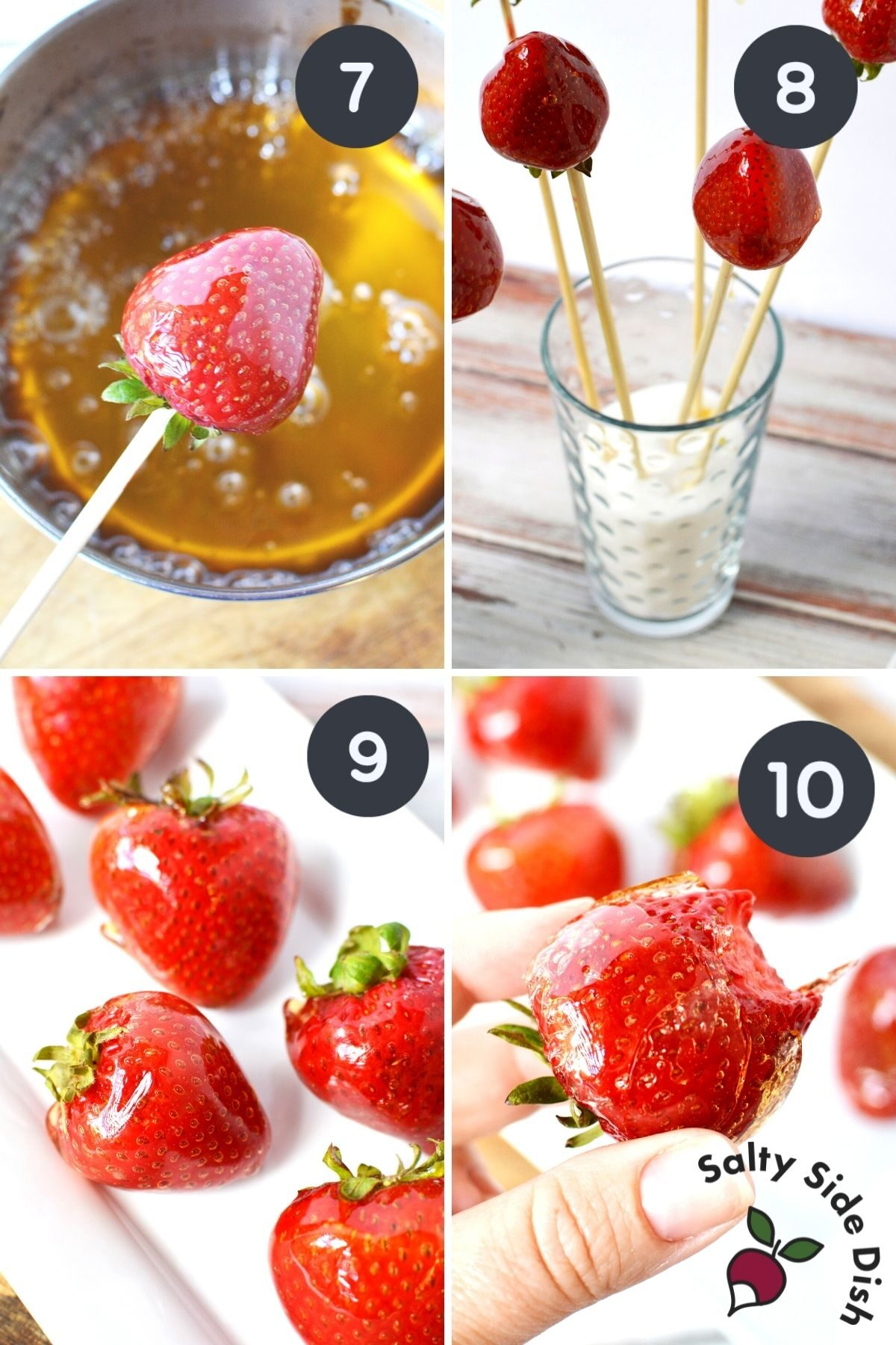 dipping strawberries into candied sugar, a collage of 4 images for tanghulu strawberries.