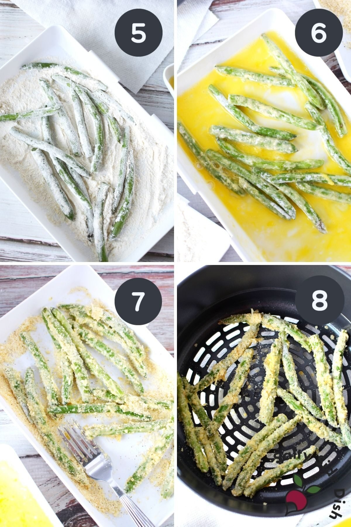 colllage coating green beans in parmesan cheese mixture.