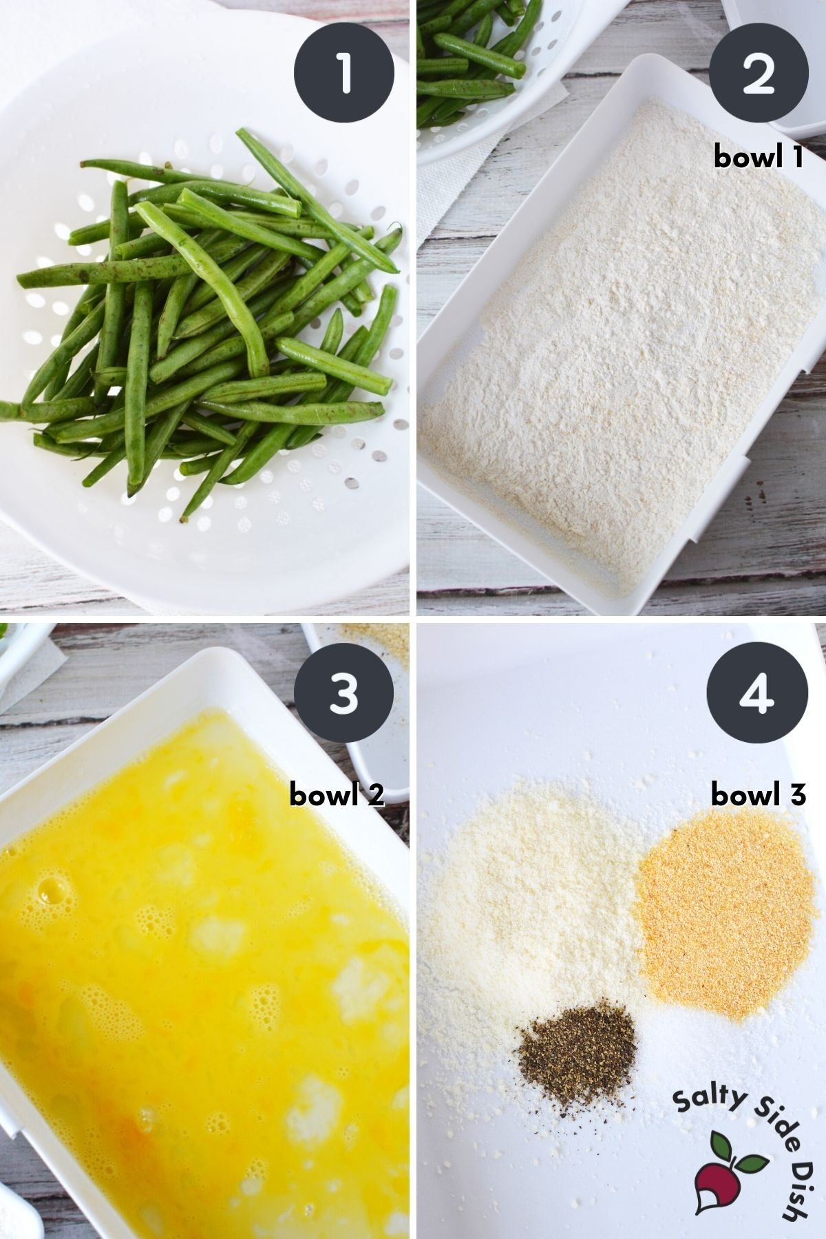 collage of 4 images showing how to coat green beans for air fryer.