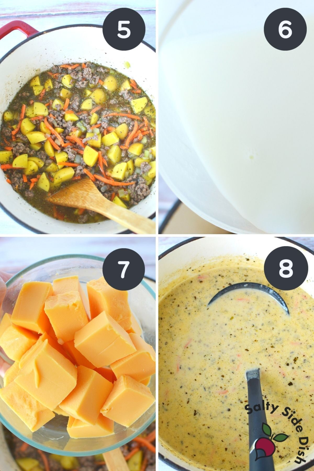 collage of images showing potato and hamburger soup being assembled.