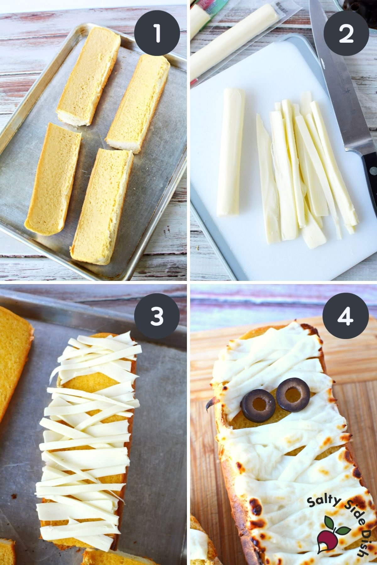 collage on how to make mummy garlic bread for halloween.