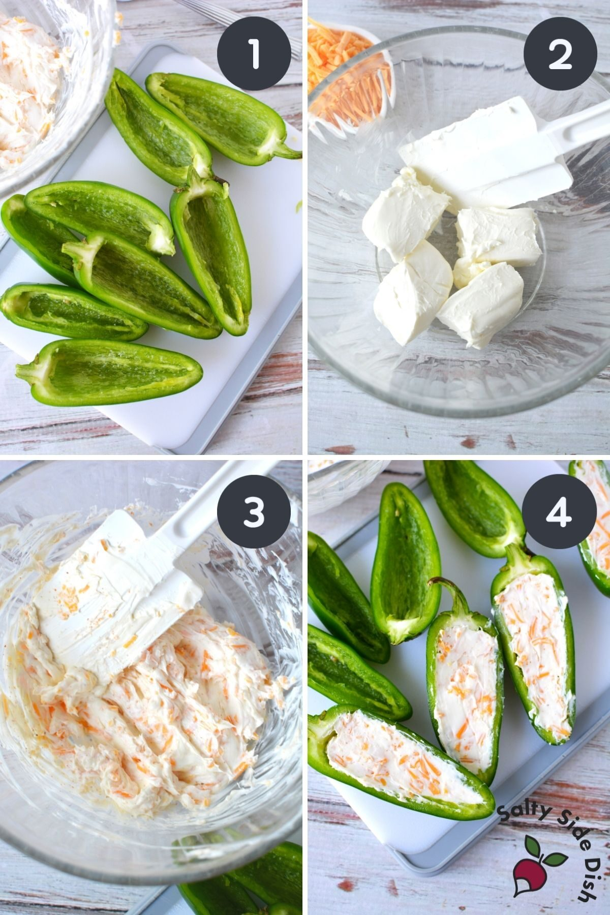 4 images showcasing how to stuff a jalapeno popper.