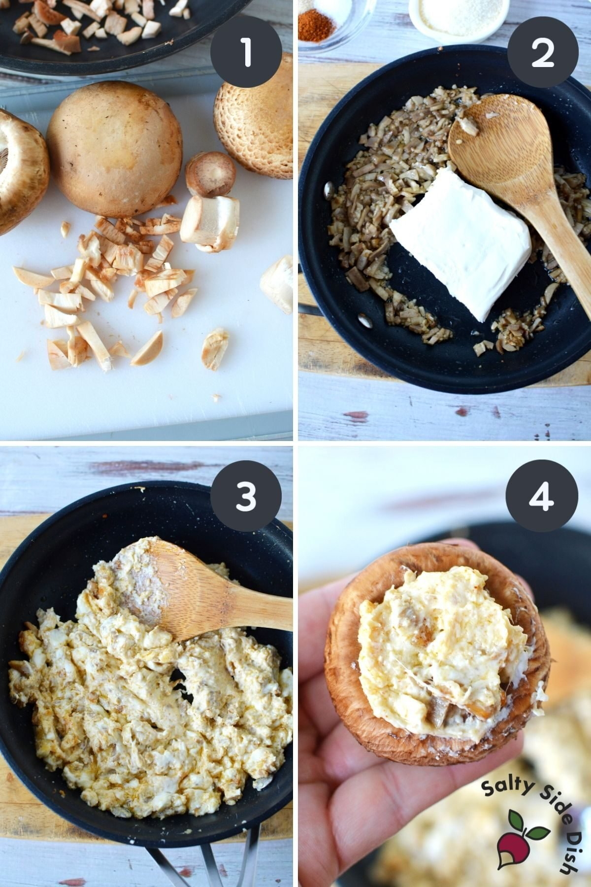 4 image collage on how to stuff mushrooms with cream cheese.