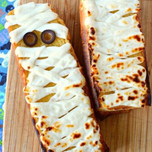 string cheese mummy garlic bread.