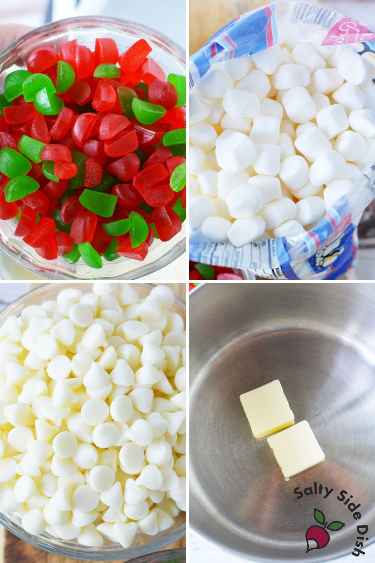 images of 4 Christmas nougat ingredients.