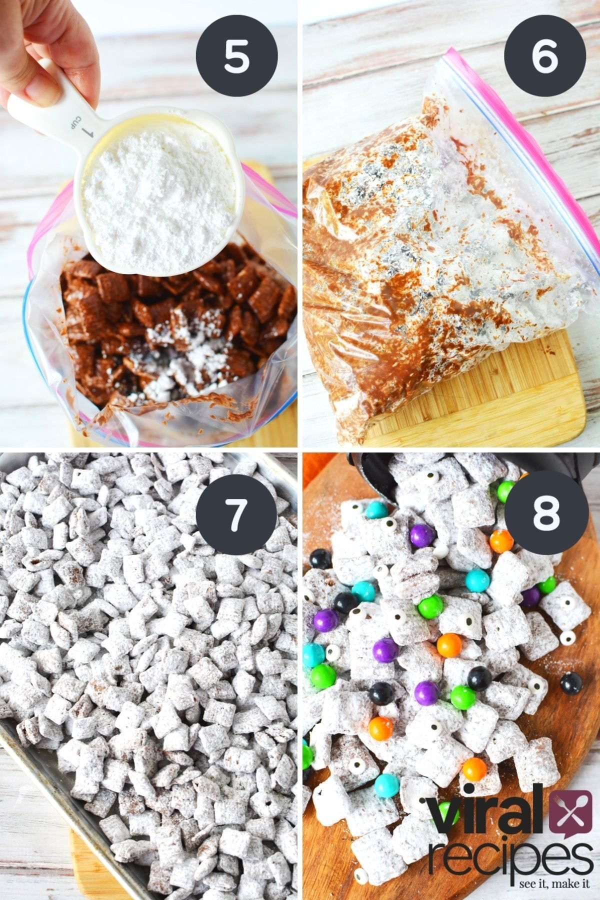collage on how to make halloween puppy chow.