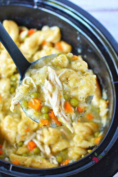 spoonful of chicken and dumplings.
