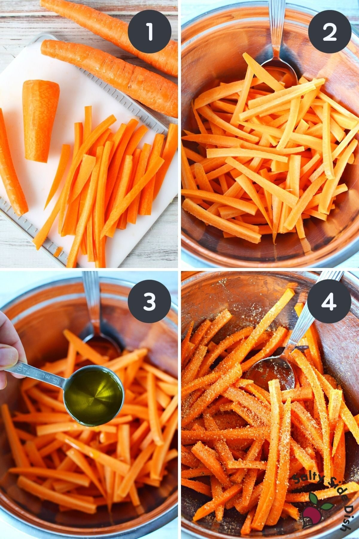 collage of carrot fries in an air fryer.