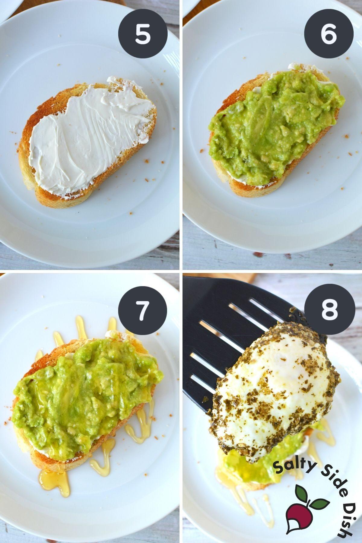 adding avocado, honey and egg onto a piece of toast.