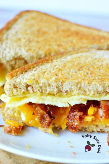 tiktok breakfast sandwich on a plate.
