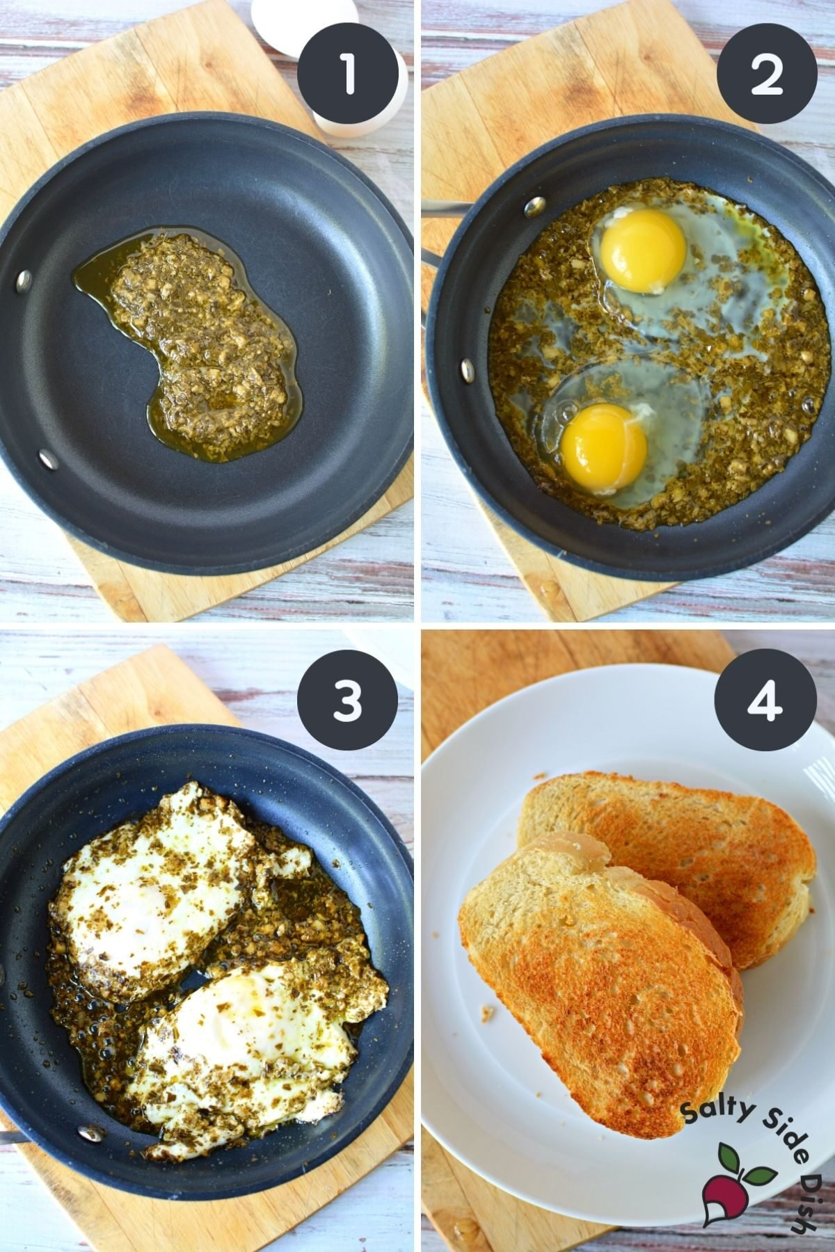 collage on how to make pesto eggs.