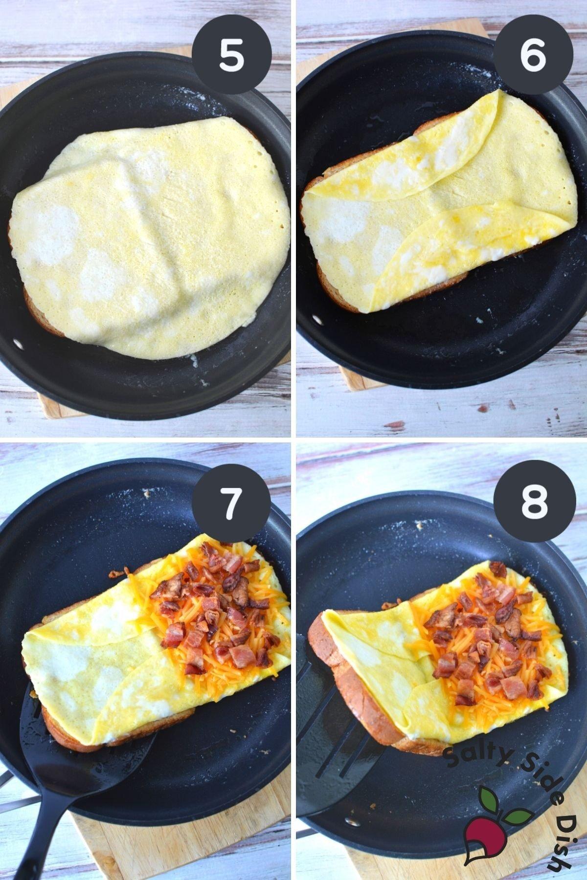tiktok viral egg sandwich in a skillet.